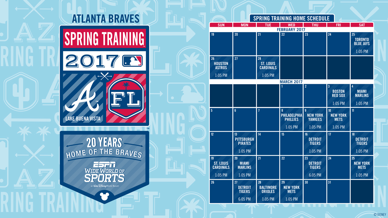 Atlanta Braves' 20th Annual Spring Training Schedule at Walt Disney World Announced