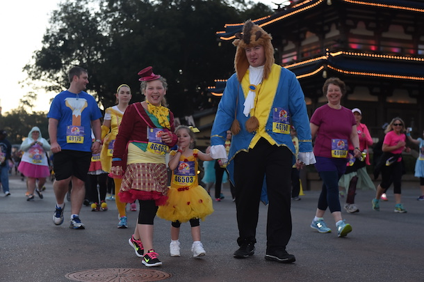 Father and Daughter in Beauty and the Beast inspired runDisney Marathon Costumes