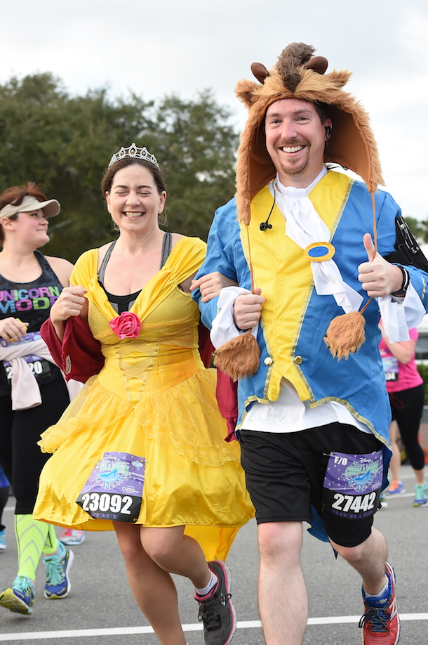 Beast and Belle-inspired costumes from the Beauty and the Beast running the runDisney Marathon