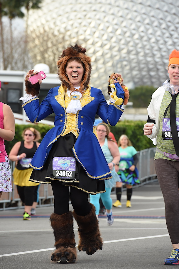 Beast-inspired costume from the Beauty and the Beast completing the runDisney Marathon