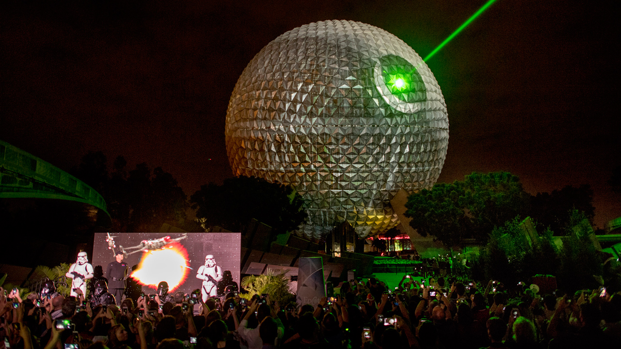 Celebrating Rogue One: A Star Wars Story, Spaceship Earth Transforms Into Death Star at Walt Disney World Resort