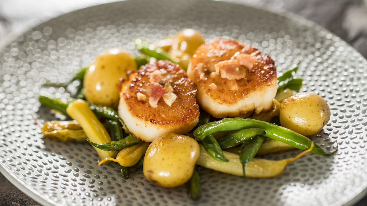 Seared Scallops with French Green Beans, Butter Potatoes, Brown Butter Vinaigrette and Apple-wood Smoked Bacon