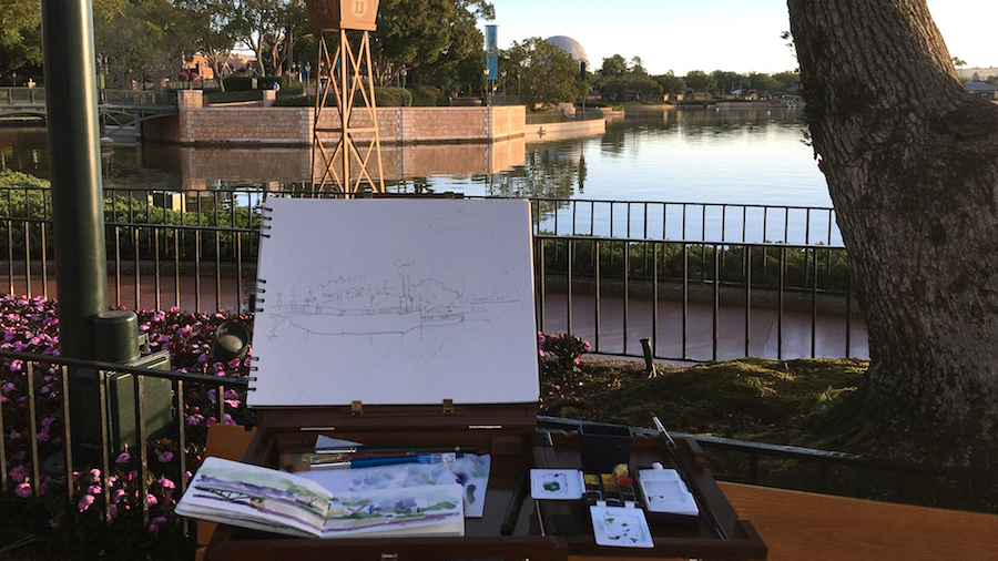 Sketches From The Park: Plein Air at World Showcase Lagoon