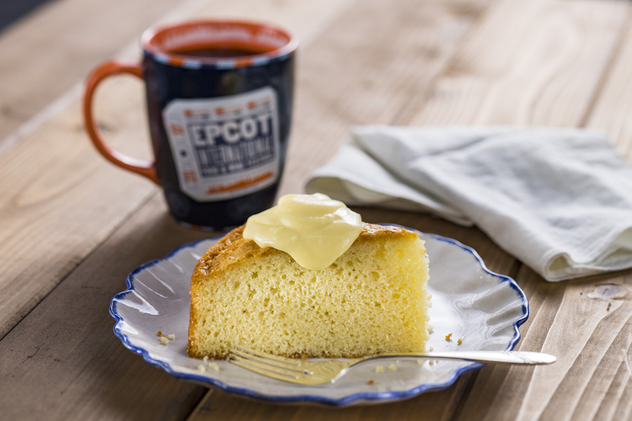 Sweet Olive Oil Cake with Powdered Sugar and Lemon Curd