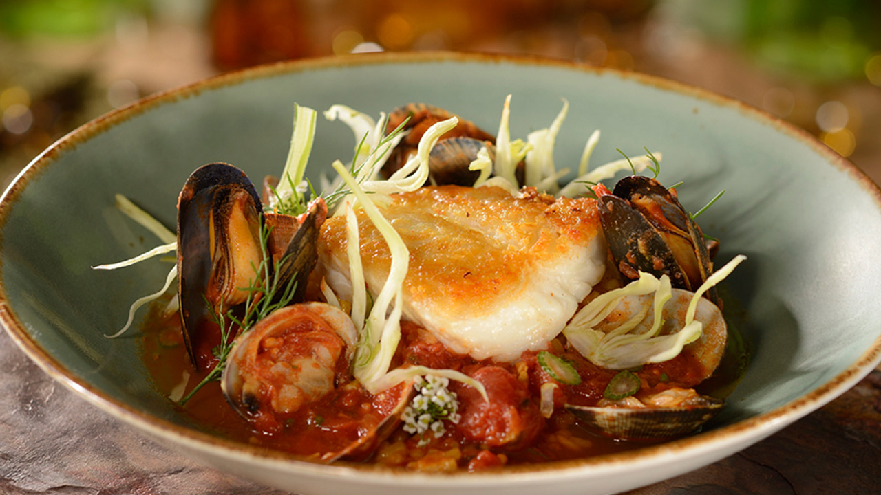 Cioppino with Sustainable Fish, Scallop, Shrimp, Mussels, Spiced Tomato-Clam Broth at The Wave…of American Flavors