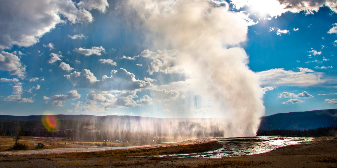 Geyser Bursting on a sunny day on Adventures by Disney American Great Outdoors Vacation