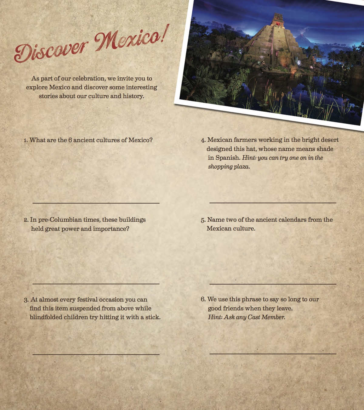 Cultural Celebration Mexico Brochure