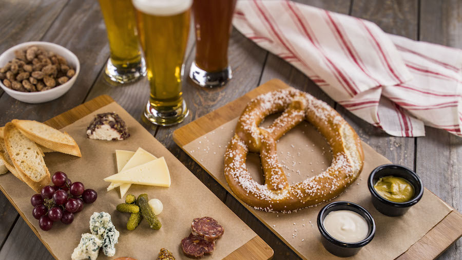 Bavarian Preztzel and California Cheese and Charcuterie board at BaseLine Tap House