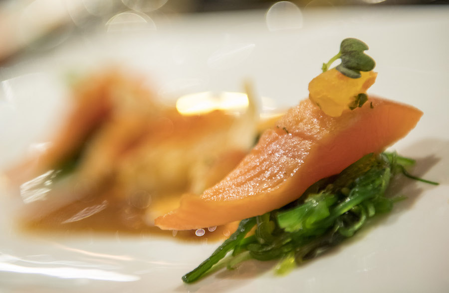 Salmon served on seaweed on the Adventures by Disney Danube River Cruise