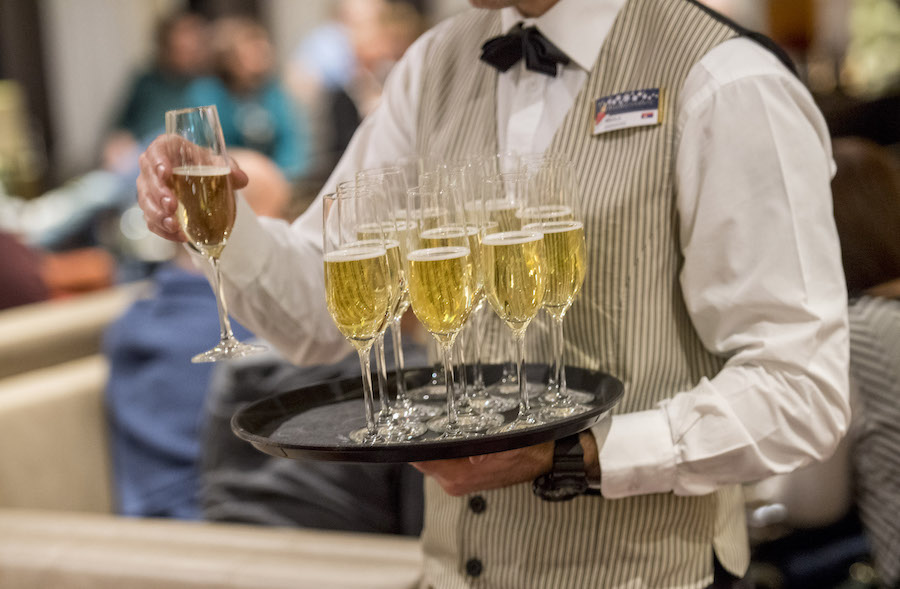 Champagne served with dinner on the Adventures by Disney Danube River Cruise