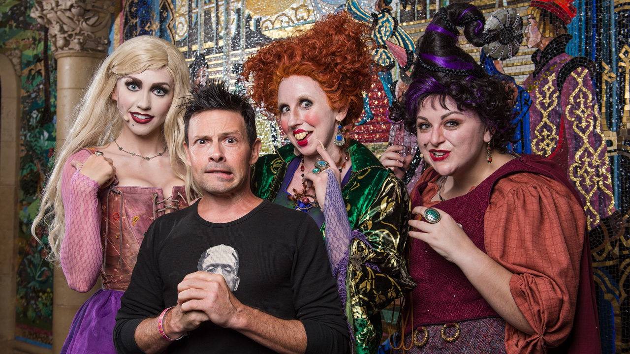 Actor Jason Marsden with the Sanderson Sisters at Magic Kingdom Park