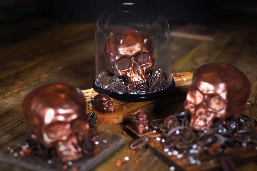 The Ganachery Skull Shaped Dark Chocolate for Halloween Season in Glass Case