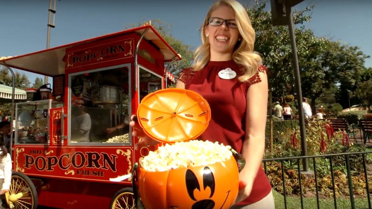 Disney Parks Food and Beverage Project Manager displaying popcorn bucket