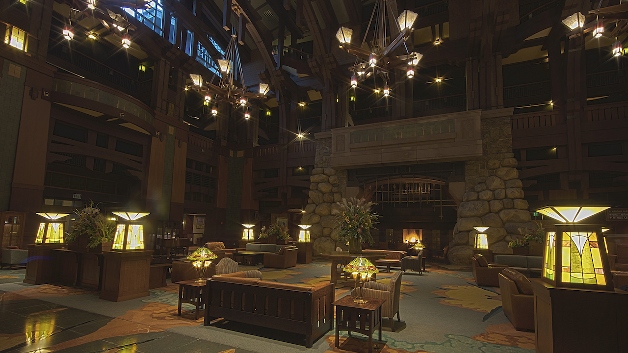 The Grand Californian Lobby is as grand as can be and has fireplaces so you have a nice peaceful read with some warm coffee.