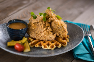 Chicken and Waffles at Ale & Compass at Disney's Yacht Club Resort