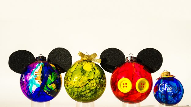 Mickey-Inspired Marbled Glass Ornaments