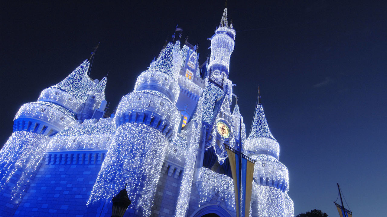 Christmas Lights on Cinderella's Castle at Walt Disney World Holiday Special Tours