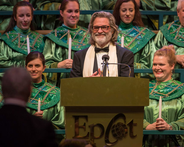 Kurt Russell narrates Candlelight Processional at Epcot