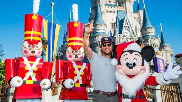 Matthew McConaughey with Mickey Mouse and Toy Soldiers at Magic Kingdom Park
