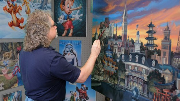 Disney Fine Artist Greg McCullough paints Epcot International Festival of the Arts 2018 official festival poster