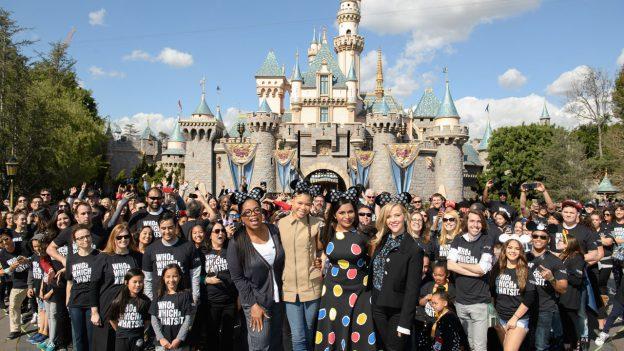 A Wrinkle in Time Cast in front of Sleeping Beauty Castle