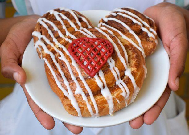 Mickey-Shaped Valentine's Day Cinnamon Roll at Main Street Bakery at Magic Kingdom Park