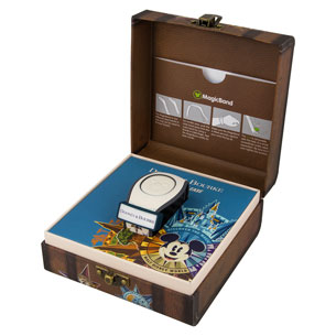Dooney & Bourke MagicBand in specialty suitcase-themed packaging