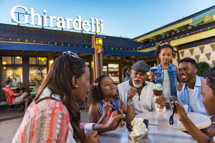 Family Enjoying Ice Cream at Ghirardelli Chocolate Company at Disney Springs