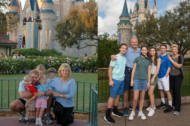 Joan Lunden and Family at Magic Kingdom Park, then and now