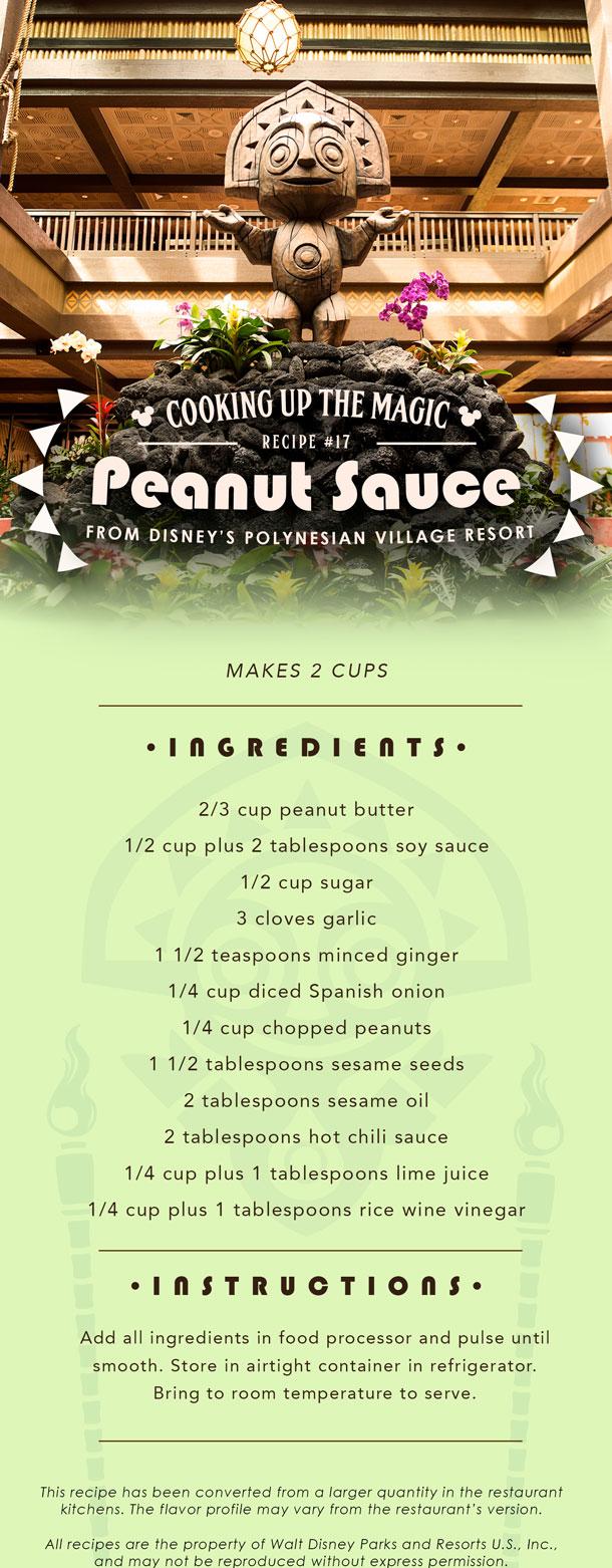 Recipe Pin for Peanut Sauce from 'Ohana at Disney's Polynesian Village Resort