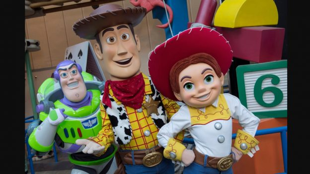 Buzz, Woody and Jessie at Toy Story Land