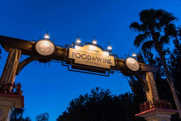 Disney California Adventure Food & Wine Festival sign at the Disneyland Resort
