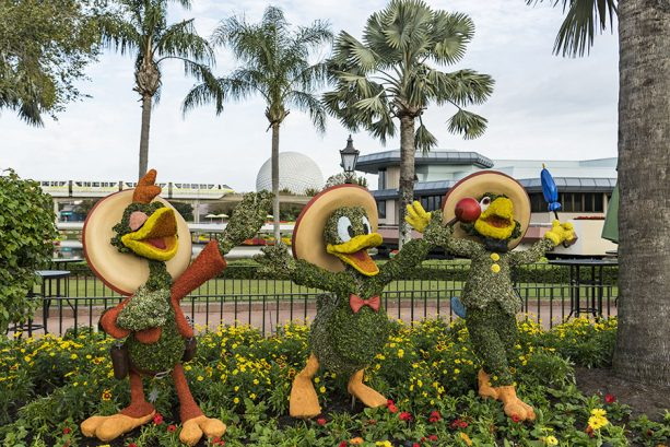 The Three Caballeros topiaries - Jose, Donald and Panchito