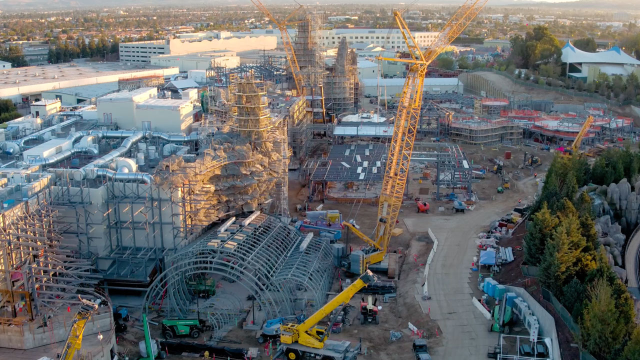 VIDEO: Flyover the Star Wars: Galaxy's Edge Construction Site