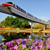 Monorail passes over Epcot during the at the Epcot International Flower & Garden Festival