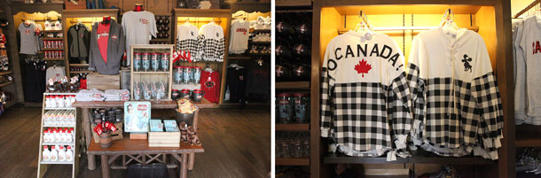 Merchandise in the Canada pavilion at Epcot