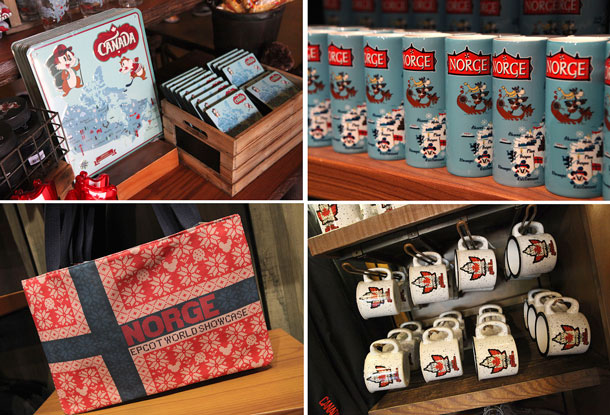 Merchandise in the Canada and Norway pavilions at Epcot