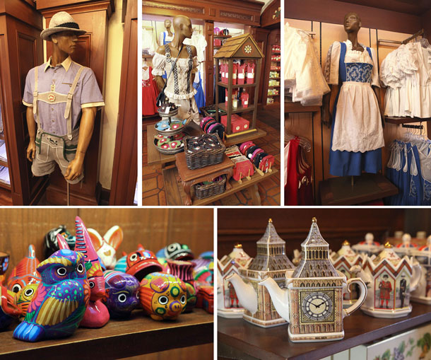 Merchandise in Germany, Mexico and United Kingdom pavilions at Epcot