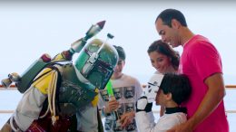 Guests meet Boba Fett during Star Wars Day at Sea aboard the Disney Fantasy