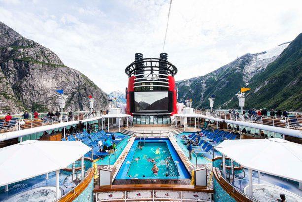Swimming pool on the Disney Wonder during a Disney Cruise in Alaska