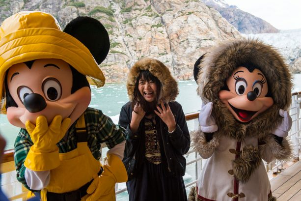 Guest with Mickey Mouse and Minnie Mouse on a Disney Cruise in Alaska