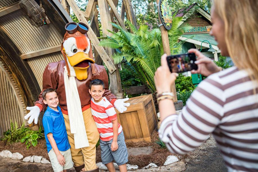 Launchpad McQuack greets guests at Disney's Animal Kingdom park