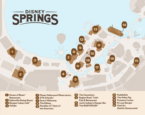 Discover Bourbon at Disney Springs Map