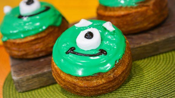 Mike Wazowski-shaped Flaky Donut at Schmoozie's at Disney California Adventure Park