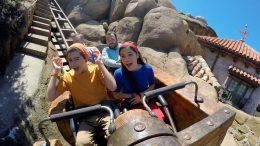 Jenna Ortega and Isaak Presley ride Seven Dwarfs Mine Train at Magic Kingdom Park