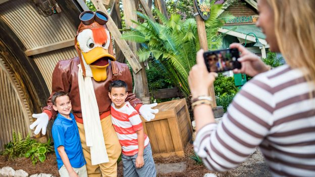 Meet Launchpad McQuack during Donald's Dino-Bash! Celebration at Disney's Animal Kingdom