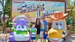 Disney Parks Moms Panelist Courtney with her family at Disney California Adventure park