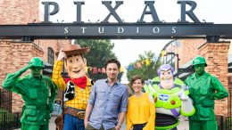 Actors Zach Braff and Eden Sher with Woody, Buzz Lightyear and Green Army Men at Disney's Hollywood Studios