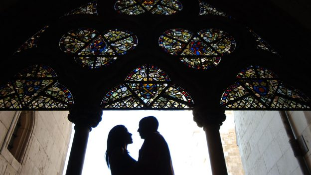 Romantic Couple's Picture under Painted Glass on Adventures by Disney England and France Vacation Package