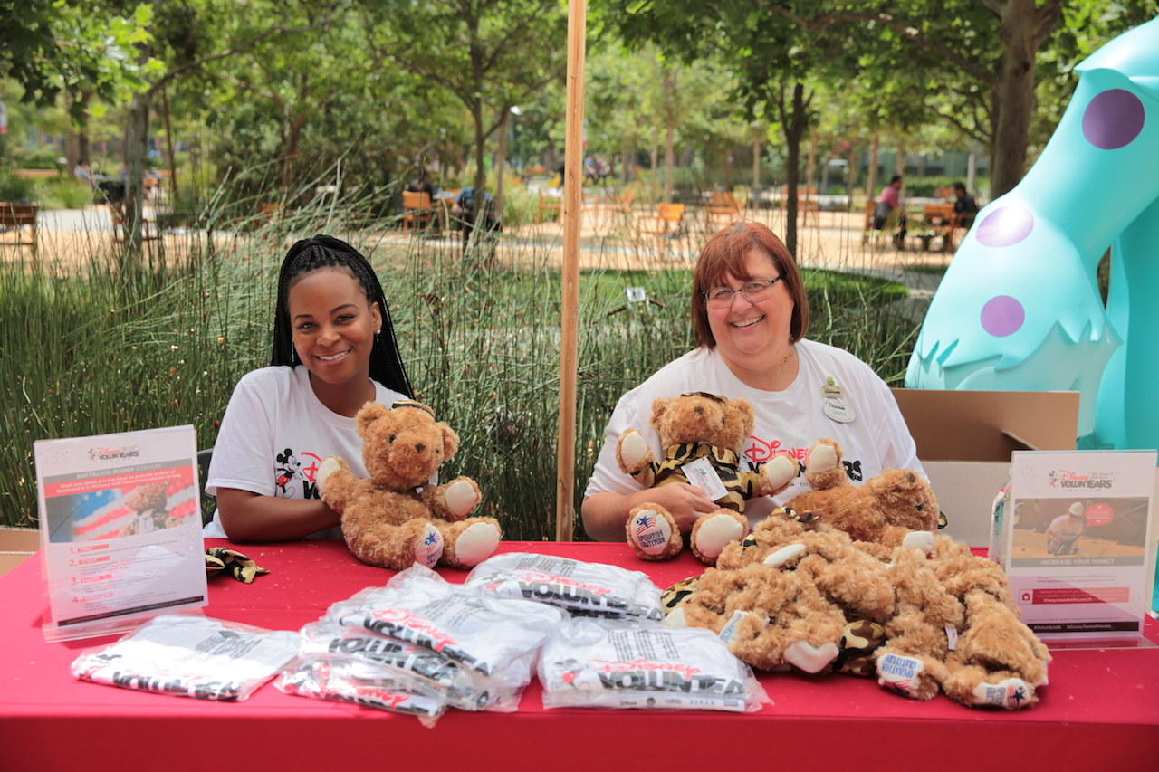 Cast members at the Glendale Creative Campus stuffed teddy bears for the children of U.S. Military service personnel